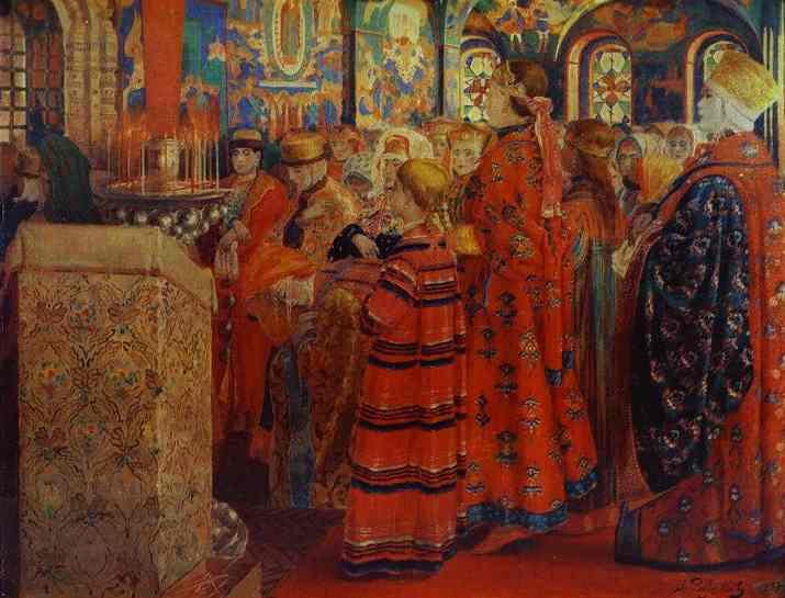 Russian Women Of The XVII Century In A Church Detail 3 1899 | Andrey Ryabushkin | Oil Painting