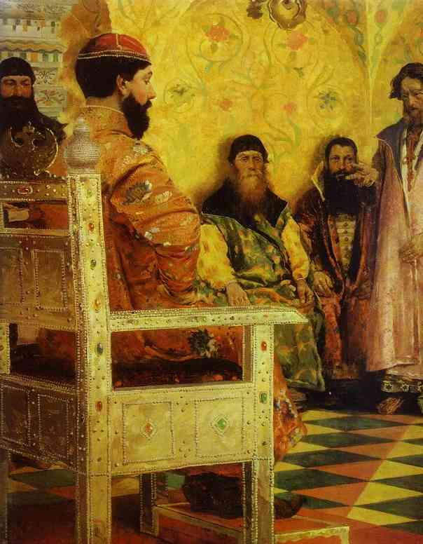 Tzar Mikhail Fedorovich Holding Council With The Boyars In His Royal Chamber 2 1893 | Andrey Ryabushkin | Oil Painting