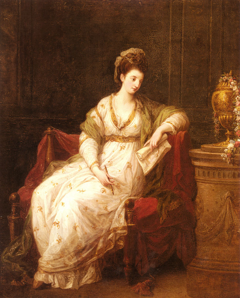 Portrait Of Louise Henrietta Campbell Later Lady Scarlett As The Muse Of Literature   Angelica Kauffmann   Oil Painting