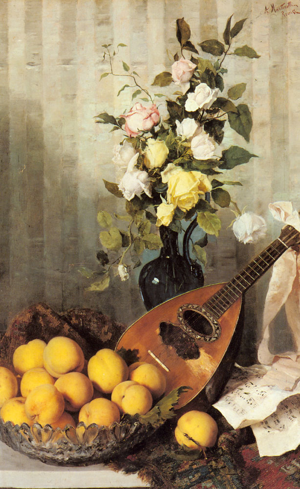 A Still Life With A Vase Of Roses | Angelo Martinetti | Oil Painting
