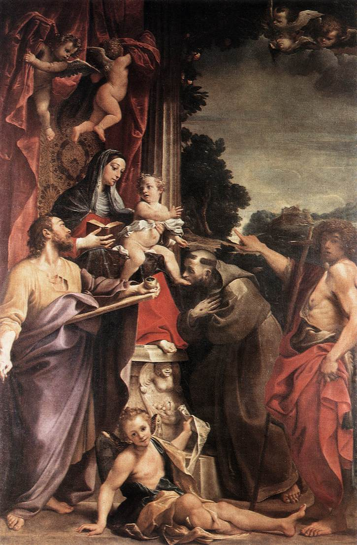 Madonna Enthroned With St Matthew 1588 | Annibale Carracci | Oil Painting