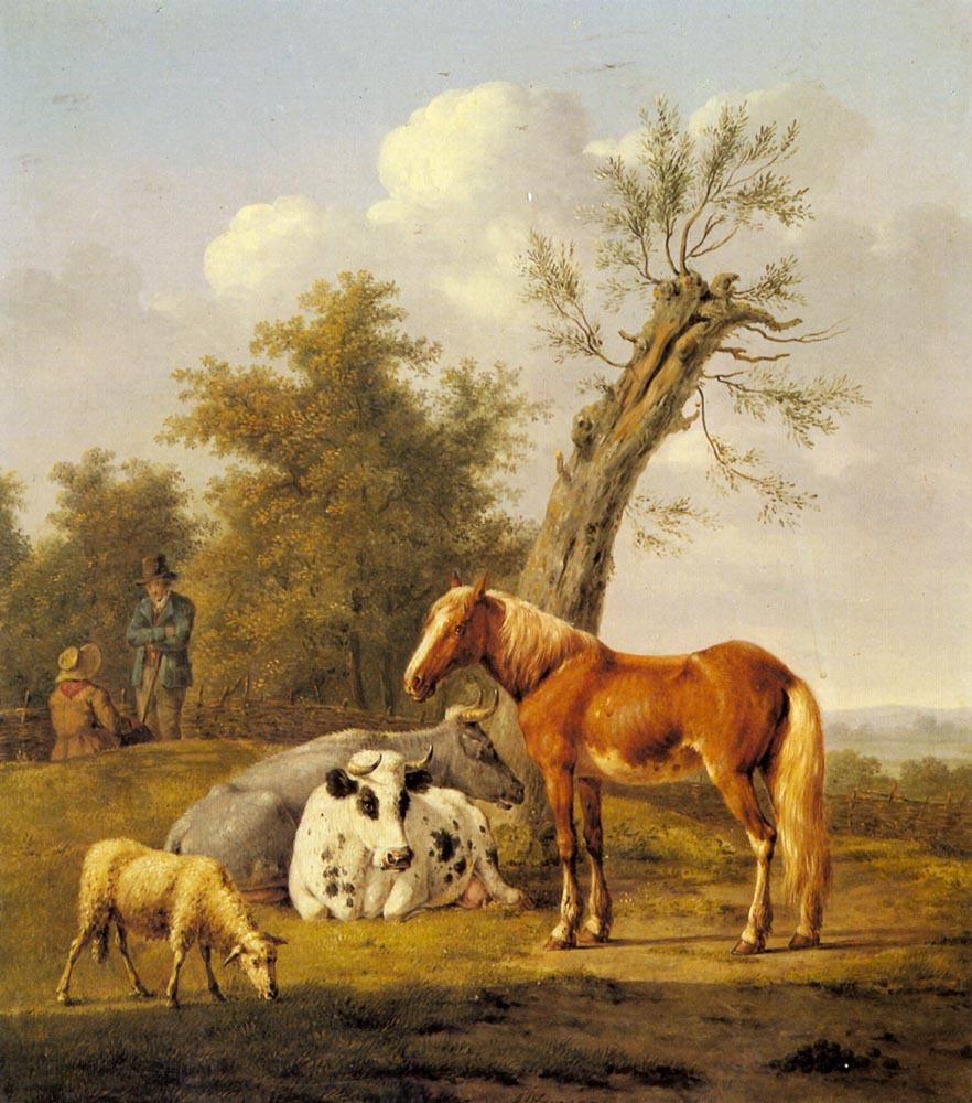 Cows and Horse and a Sheep Resting by a Blasted Oak | Anthony Oberman | Oil Painting