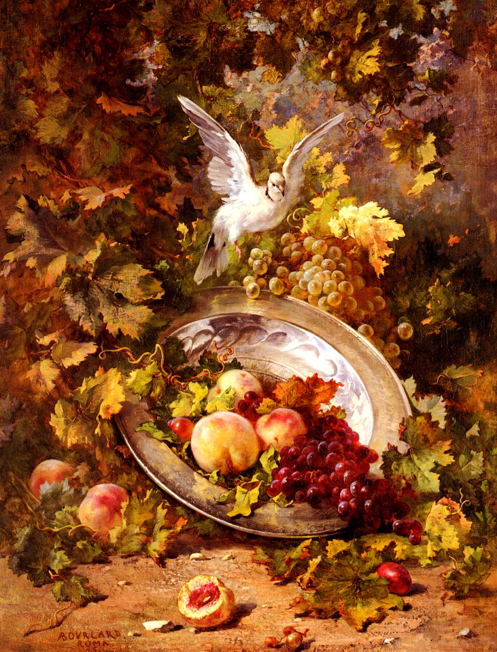 Peaches And Grapes With A Dove | Antoine Bourland | Oil Painting