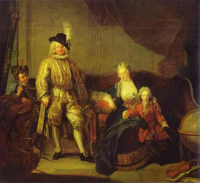 Portrait Of Baron Von Erlach With His Family 1711 | Antoine Pesne | Oil Painting