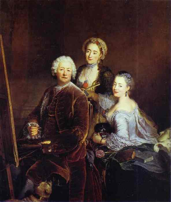 The Artist At Work With His Two Daughters 1754 | Antoine Pesne | Oil Painting