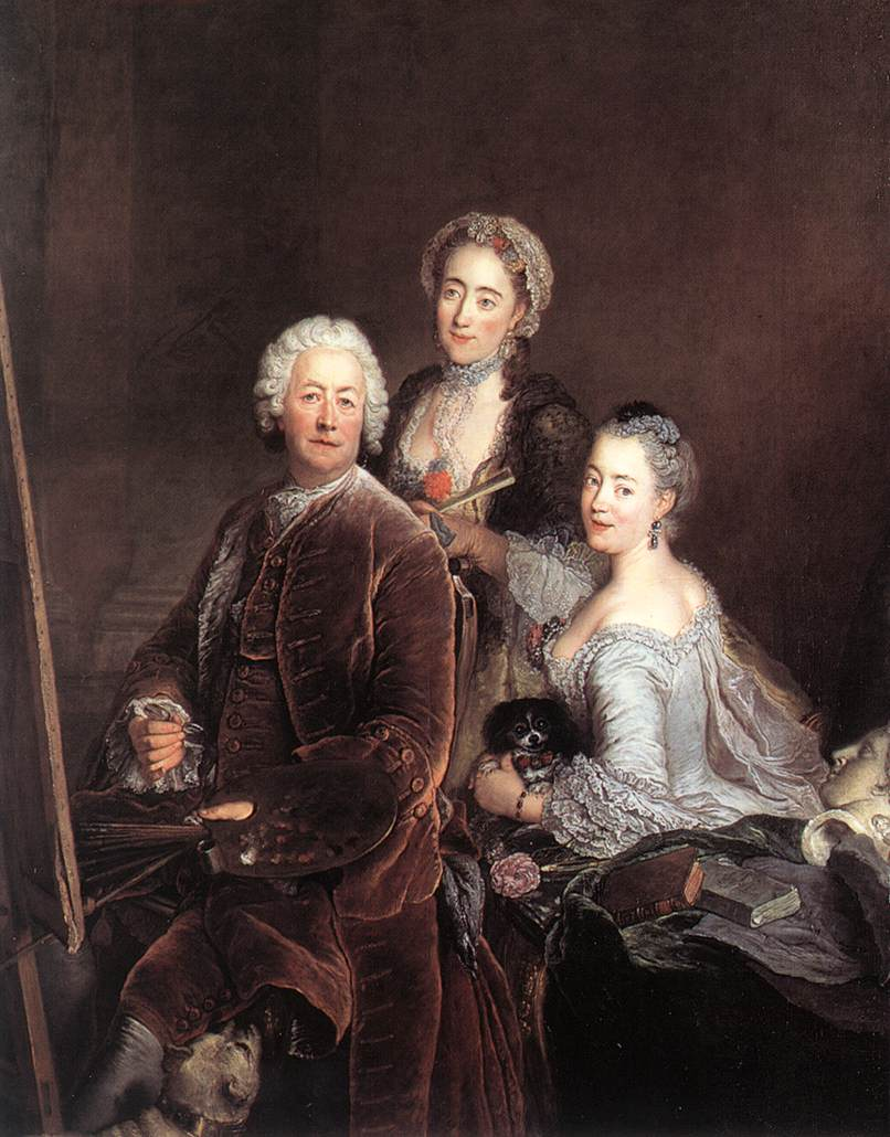 Self Portrait With Daughters 1754 | Antoine Pesne | Oil Painting
