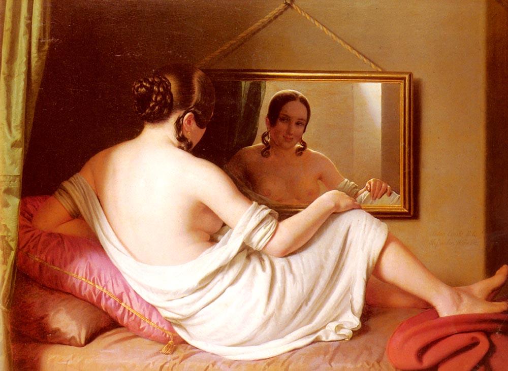 A Woman Before A Mirror | Anton Einsle | Oil Painting