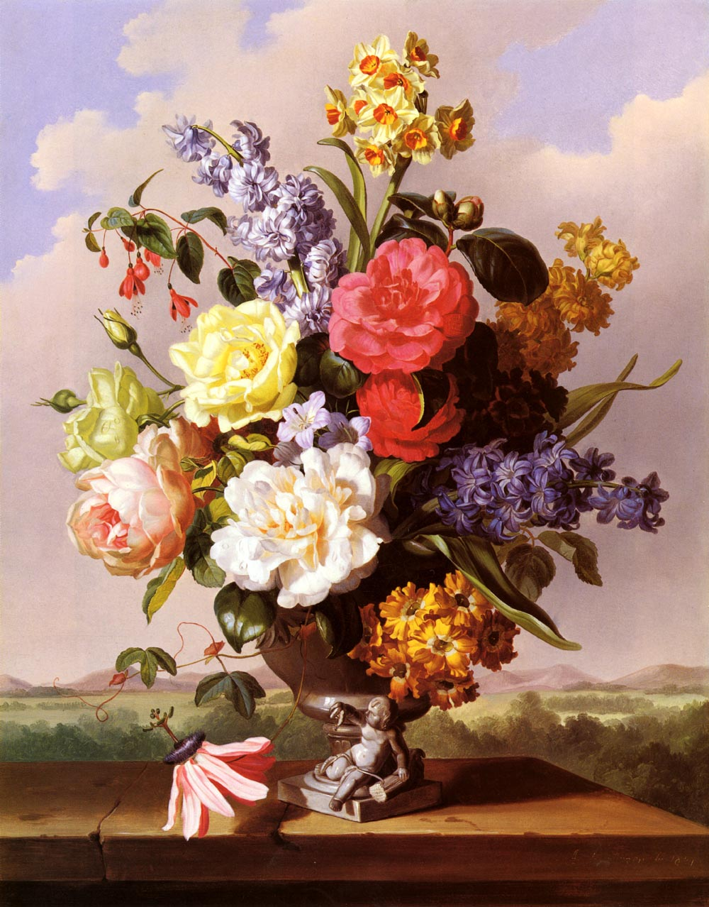 Flowers In An Urn On a Ledge | Anton Hartinger | Oil Painting
