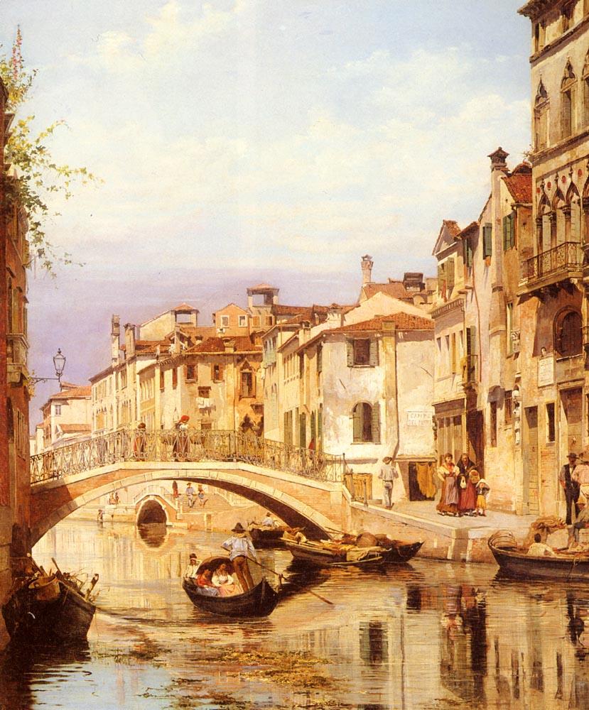A Gondola On A Venetian Backwater Canal | Antonietta Brandeis | Oil Painting