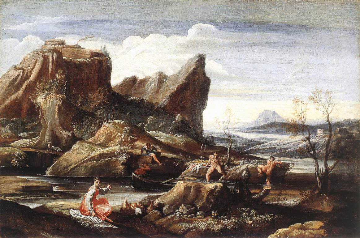 Landscape with Bathers 1616 | Antonio Carracci | Oil Painting