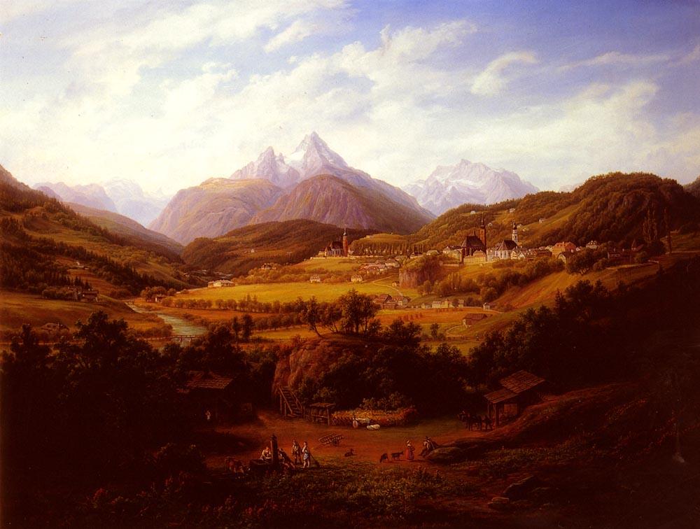 Berchtesgaden With The Watzmann Mountain In The Distance | Anton Schiffer | Oil Painting
