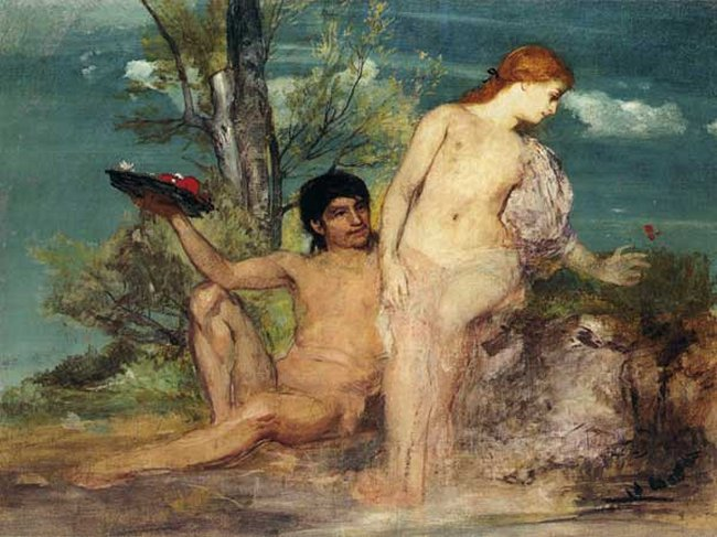Girl And Boy Picking Flowers | Arnold Bocklin | Oil Painting