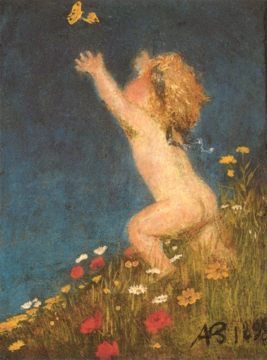 Putto And Butterfly 1895 | Arnold Bocklin | Oil Painting