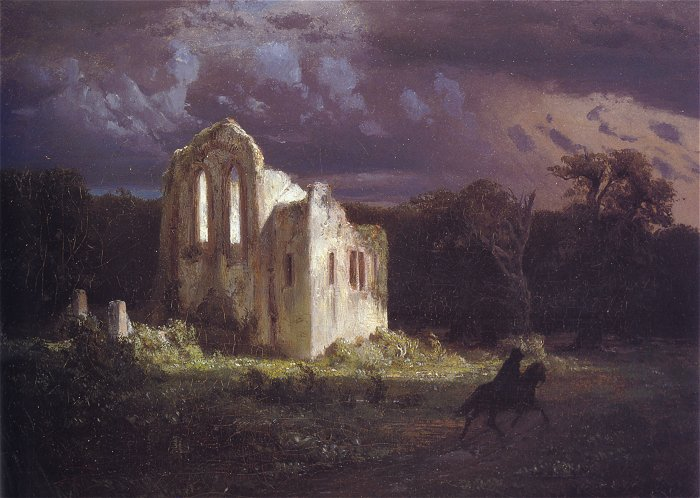 Ruins In A Moonlit Landscape 1849 | Arnold Bocklin | Oil Painting