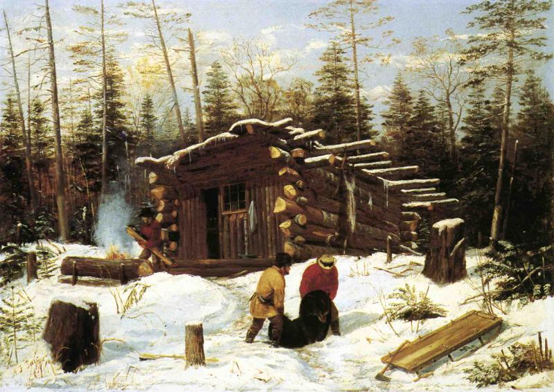 Bringing Home Game Winter Shanty at Ragged Lake 1856 | Arthur Fitzwilliam Tait | Oil Painting