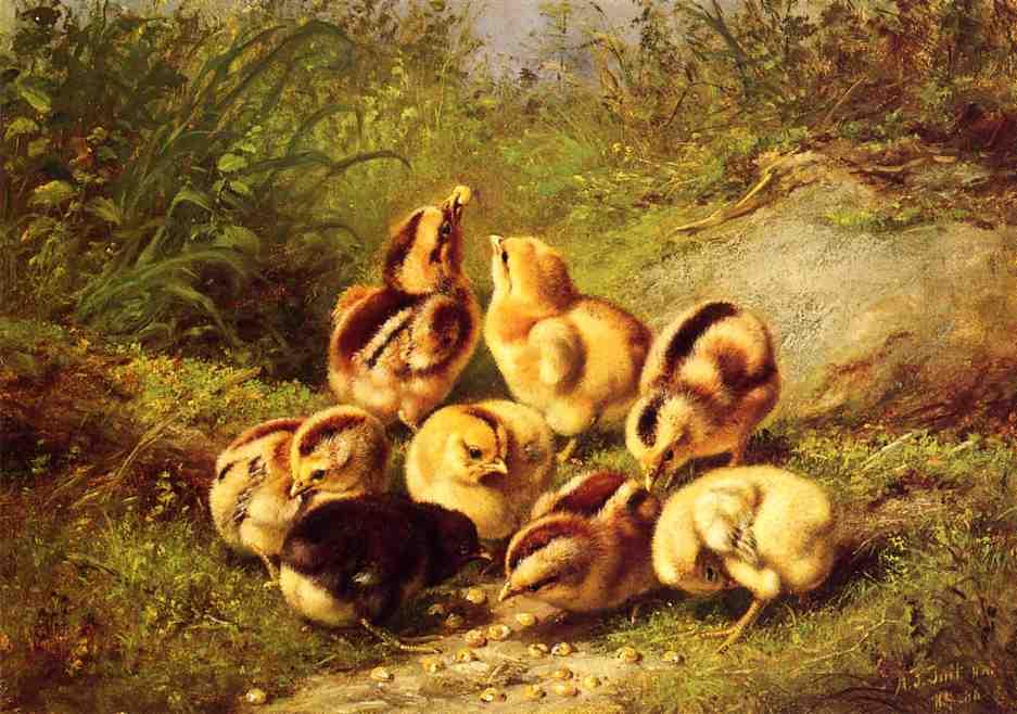 Chicks 'Rather Hard Fare'1886 | Arthur Fitzwilliam Tait | Oil Painting
