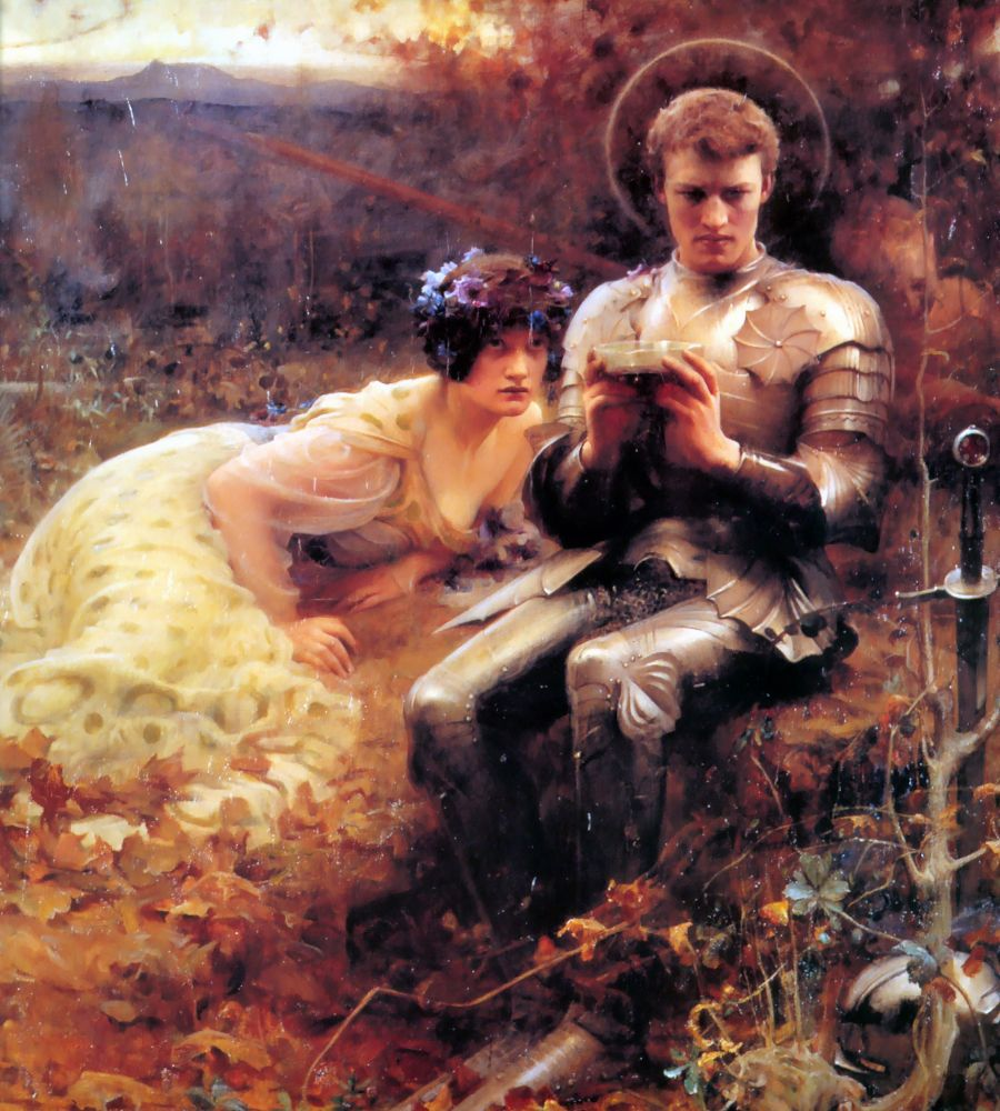 Percival With The Grail Cup | Arthur Hacker | Oil Painting
