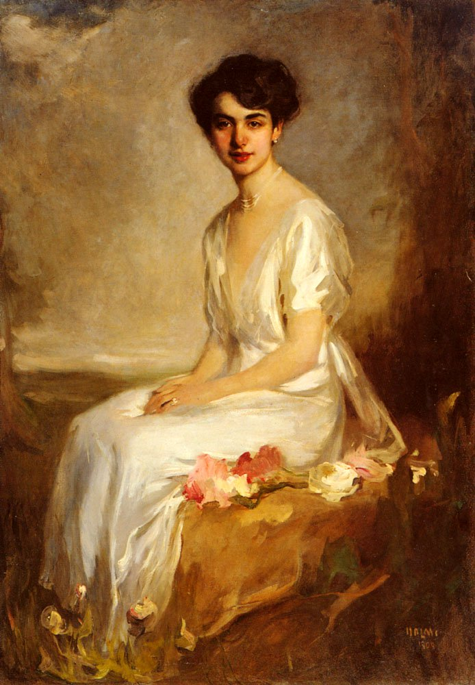 Portrait Of An Elegant Young Woman In A White Dress | Arthur Lajos Halmi | Oil Painting