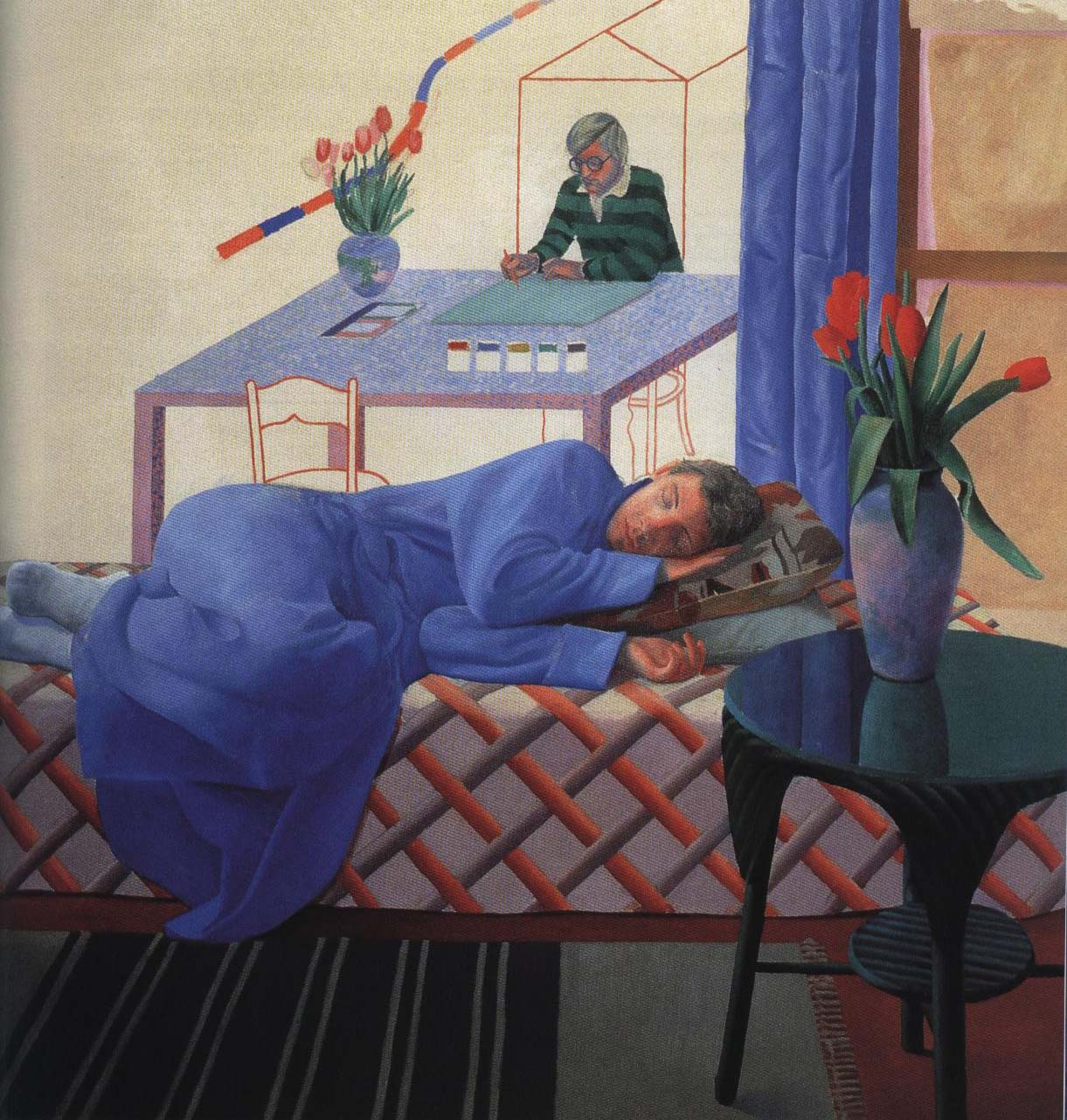 Model with Unfinished Self Portrait | David Hockney 1977 | Oil Painting