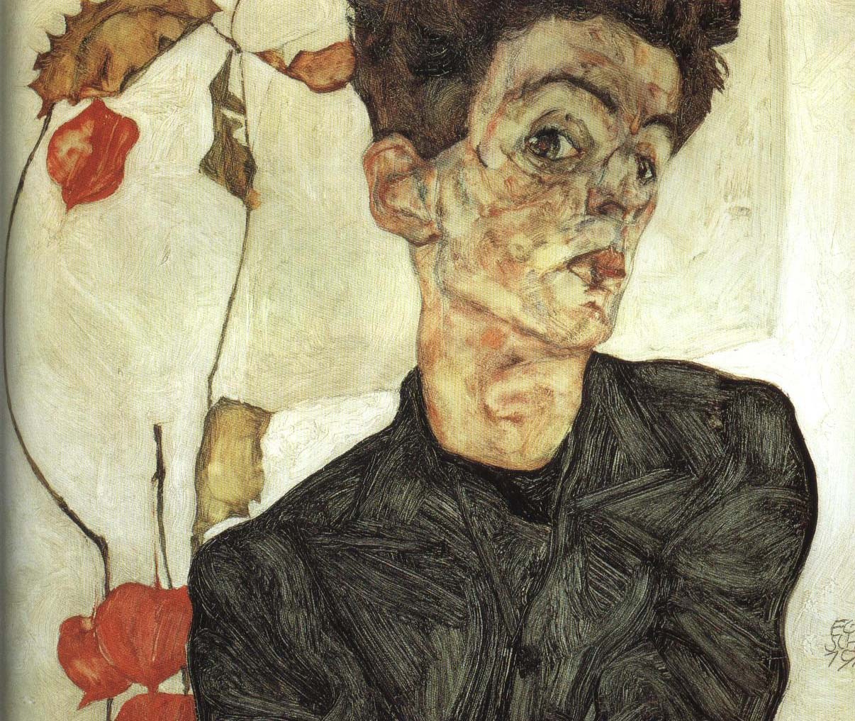 Self Portrait with Chinese Lanterns | Egon Schiele 1912 | Oil Painting
