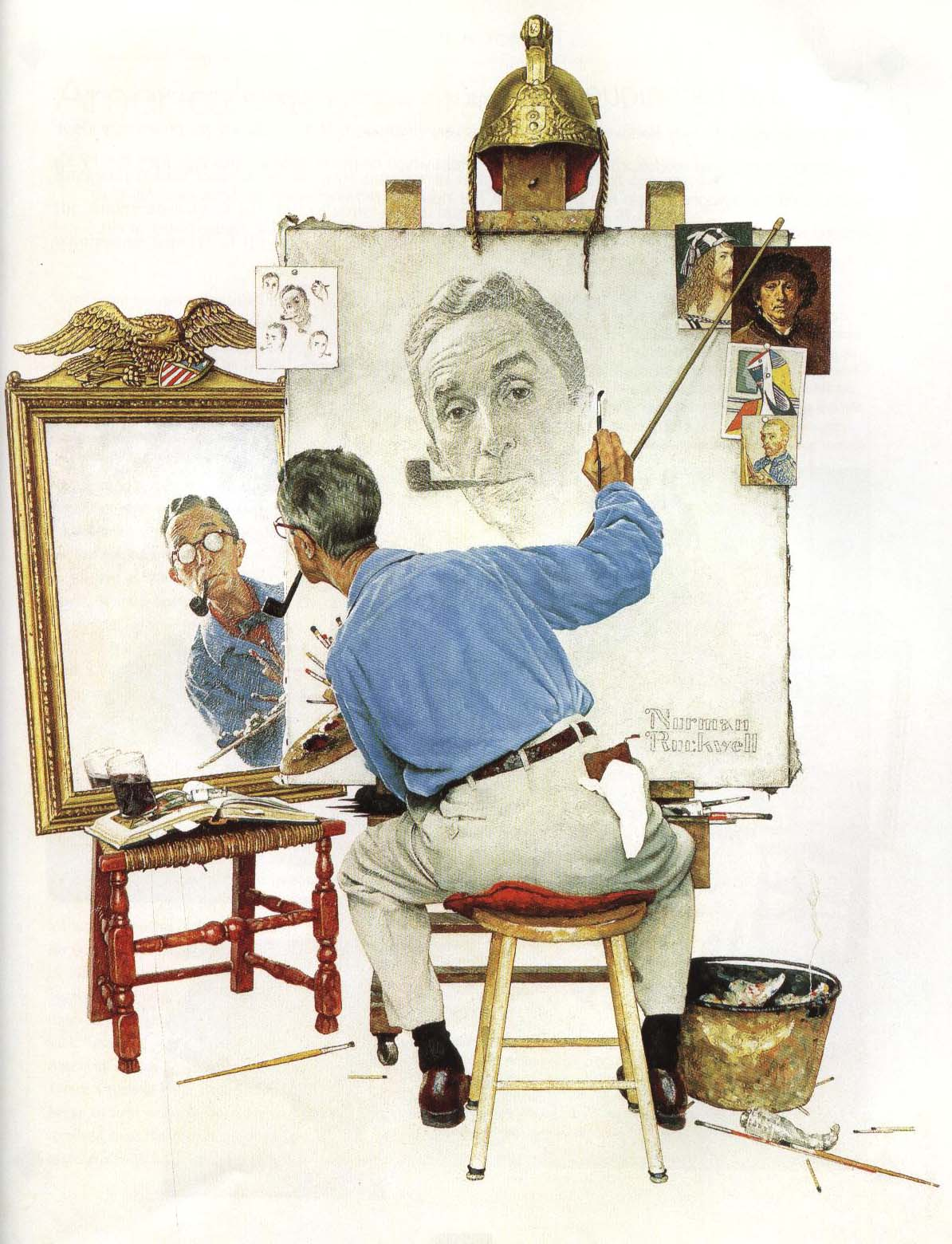 Triple Self Portrait | Norman Rockwell 1960 | Oil Painting