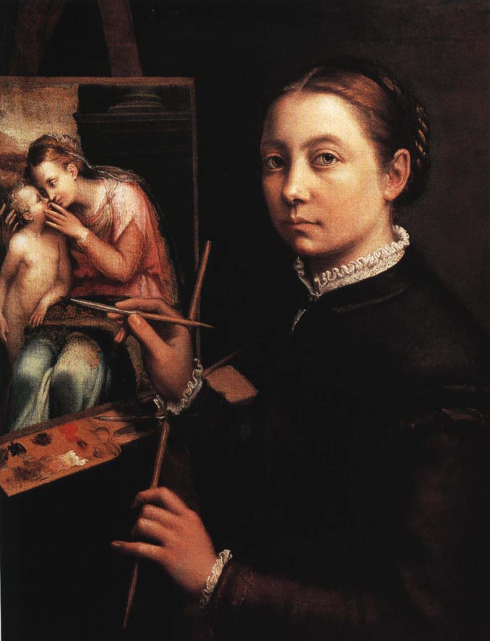 Self Portrait Painting the Virgin and Child | Sofonisba Anguissola 1555-1560 | Oil Painting