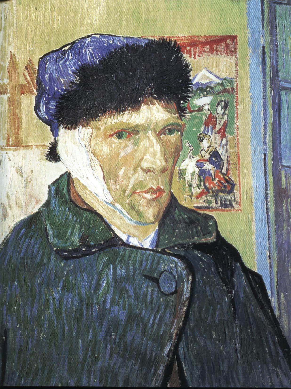Self Portrait with Bandaged Ear | Vincent Van Gogh 1889 | Oil Painting
