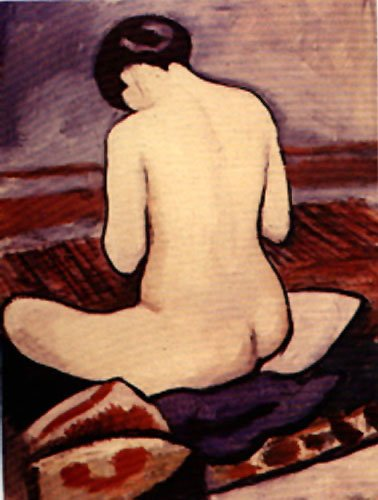 Sitting Nude (1911) | Auguste Macke | Oil Painting