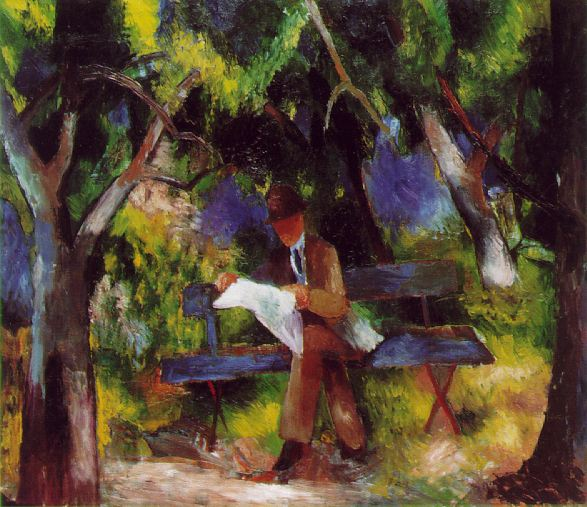 Man reading in the Park 1914 | Auguste Macke | Oil Painting