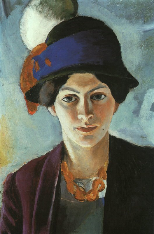 Portrait of the Artists wife Elisabeth with a Hat (Frau des Kunstlers mit Hut) 1909 | Auguste Macke | Oil Painting