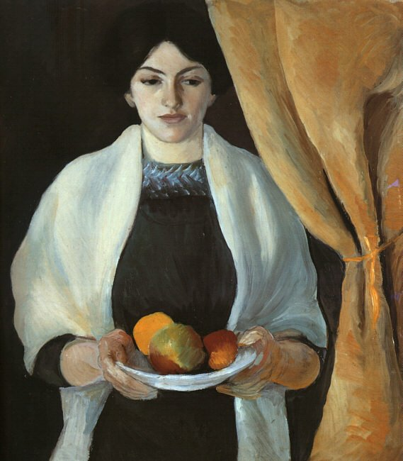 Portrait with Apples Wife of the Artist (Portrat mit Apfeln Frau des Kunstlers) 1909 | Auguste Macke | Oil Painting
