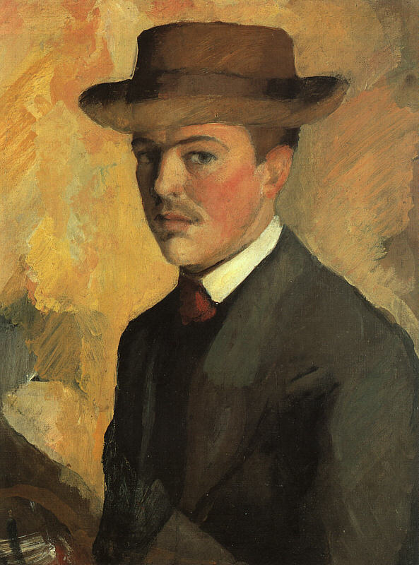 Self-Portrait with Hat(Selbstportrat mit Hut) 1909 | Auguste Macke | Oil Painting