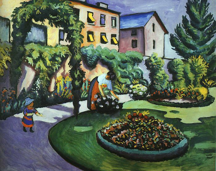 The Mackes Garden at Bonn (Der Mackesche Garten in bonn) 1911 | Auguste Macke | Oil Painting
