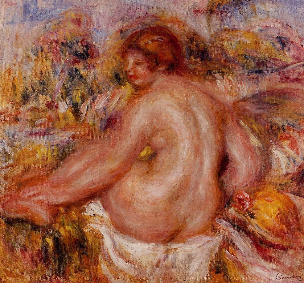After Bathing Seated Female Nude | Pierre Auguste Renoir | Oil Painting