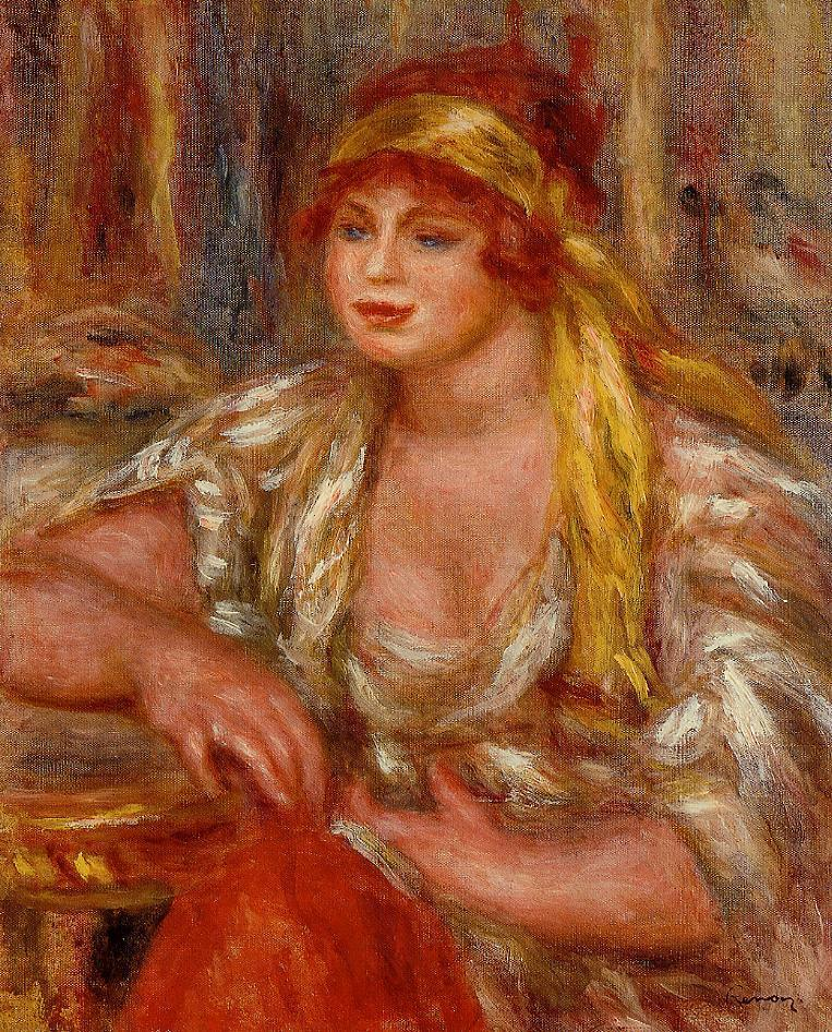 Andree in Yellow Turban and Blue Skirt 1917 | Pierre Auguste Renoir | Oil Painting