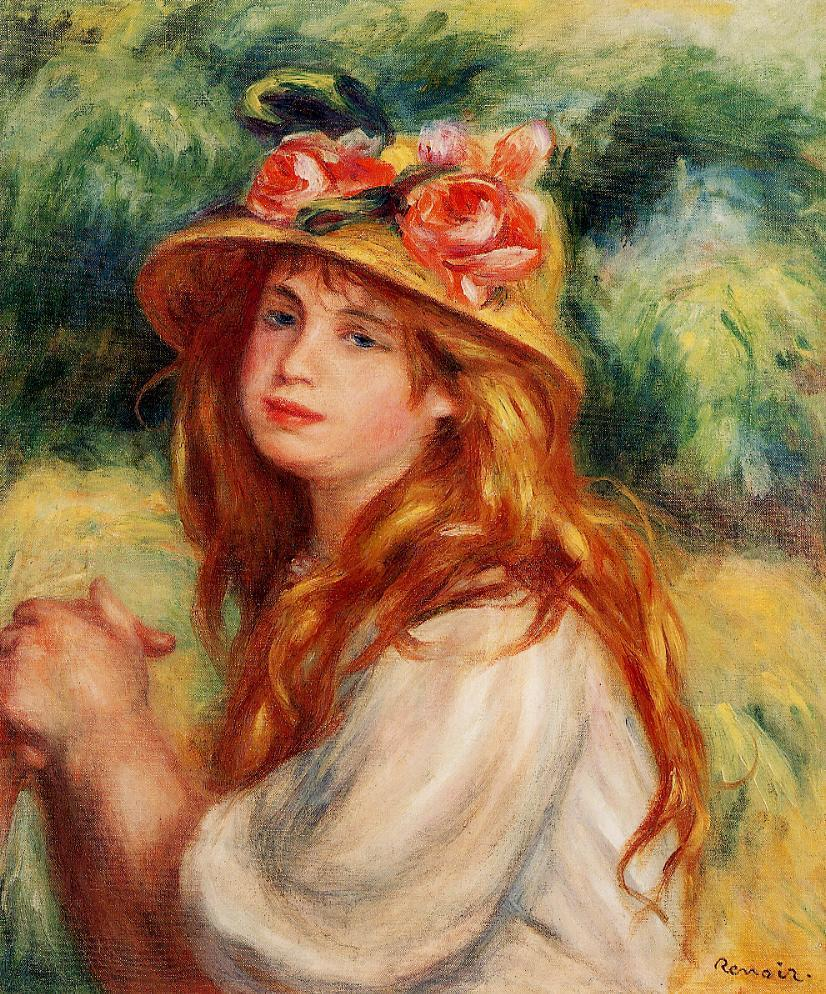 Blond in a Straw Hat (aka Seated Girl) | Pierre Auguste Renoir | Oil Painting