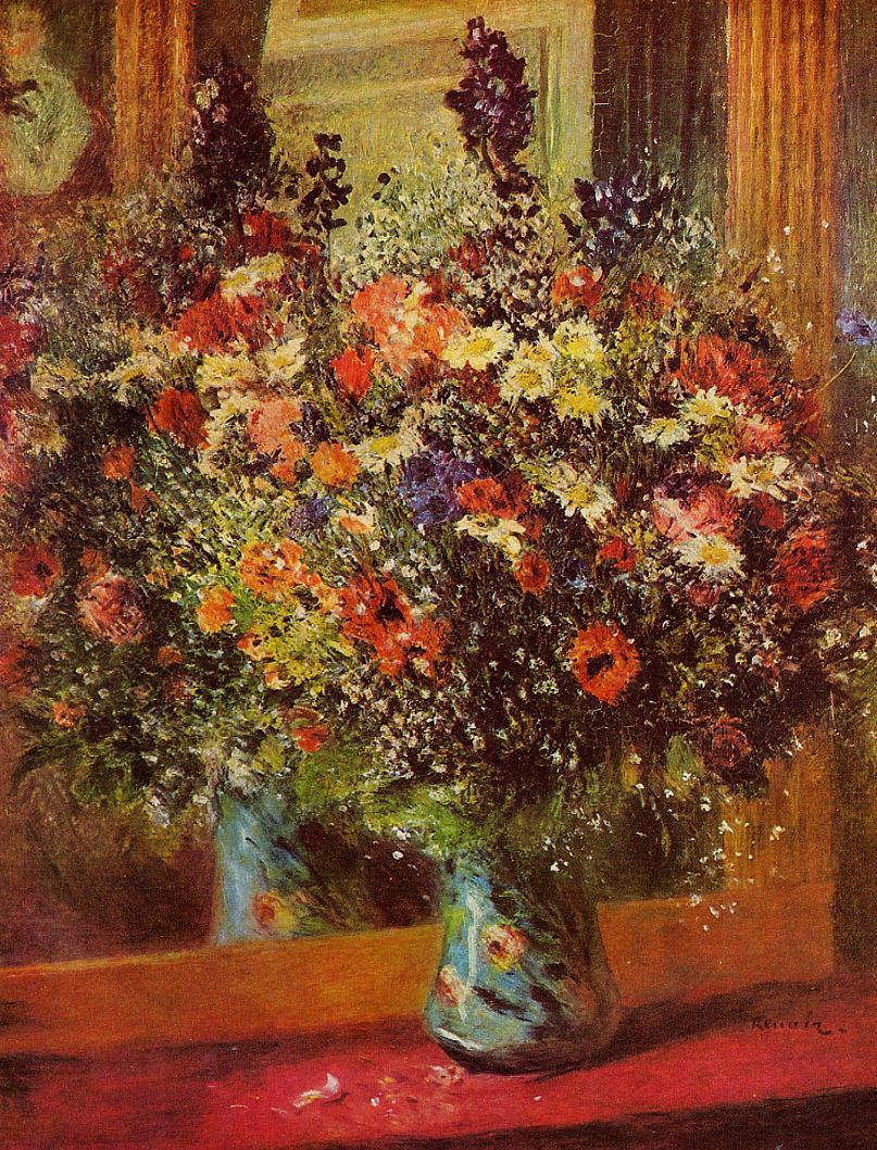Bouquet in front of a Mirror 1876-1877 | Pierre Auguste Renoir | Oil Painting
