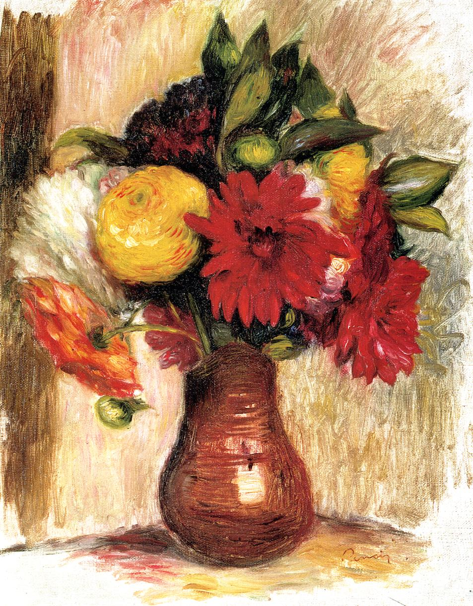 Bouquet of Flowers in an Earthenware Pitcher | Pierre Auguste Renoir | Oil Painting