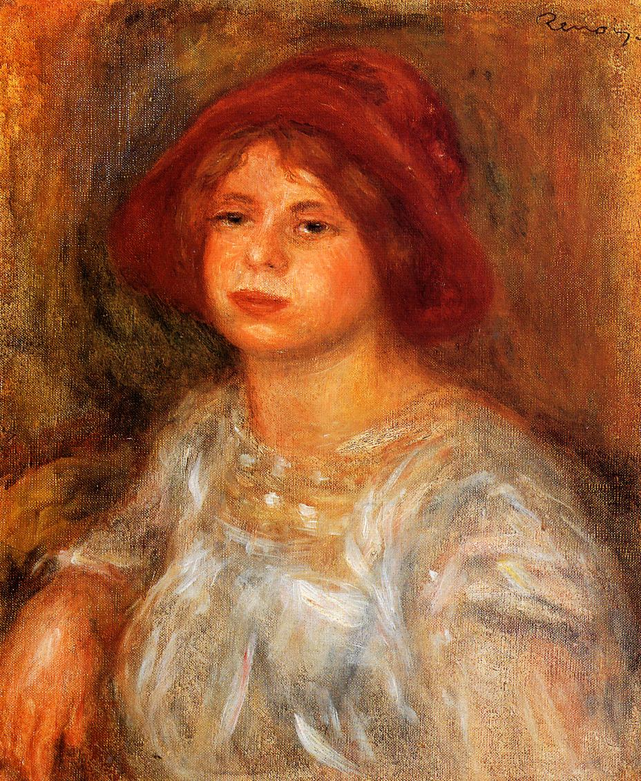 Young Girl Wearing a Red Hat 1913 | Pierre Auguste Renoir | Oil Painting