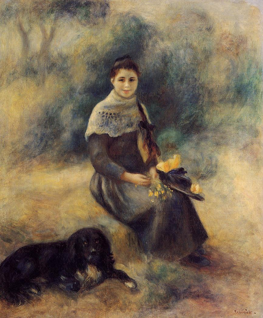 Young Girl with a Dog 1888 | Pierre Auguste Renoir | Oil Painting