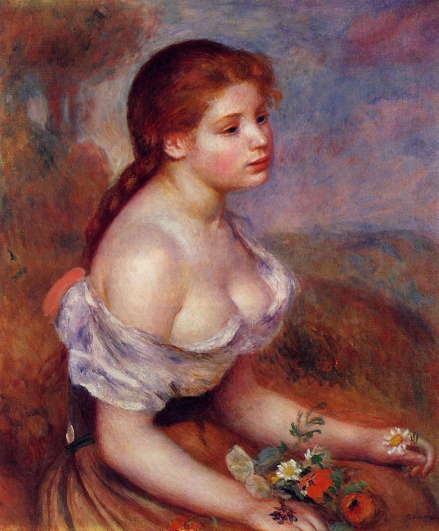 Young Girl with Daisies 1889 | Pierre Auguste Renoir | Oil Painting