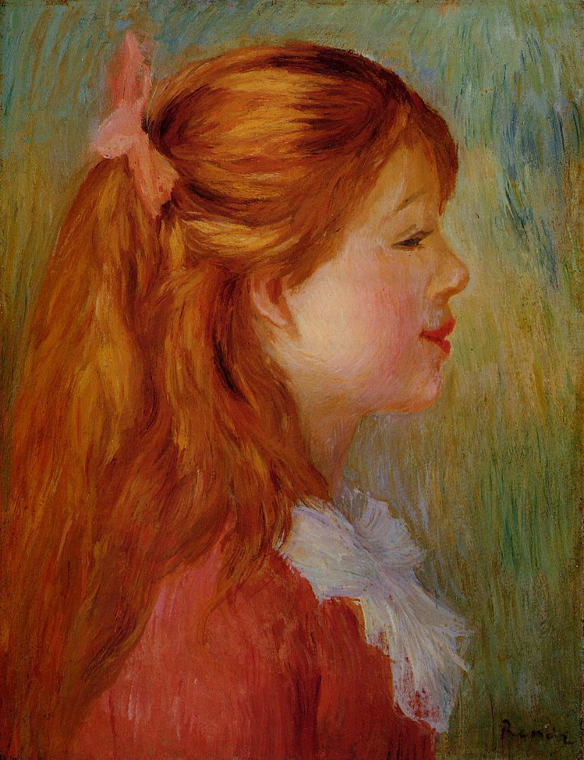Young Girl with Long Hair in Profile 1890 | Pierre Auguste Renoir | Oil Painting
