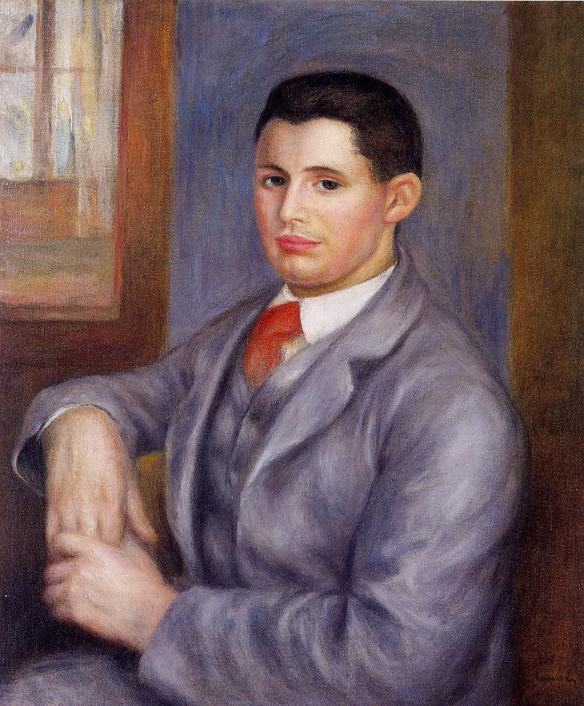 Young Man in a Red Tie 1890 | Pierre Auguste Renoir | Oil Painting