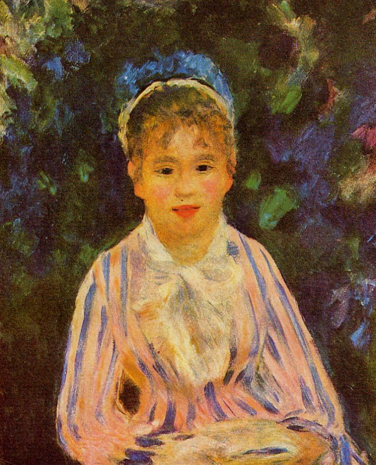 Young Woman in a Blue and Pink Striped Shirt 1875 | Pierre Auguste Renoir | Oil Painting