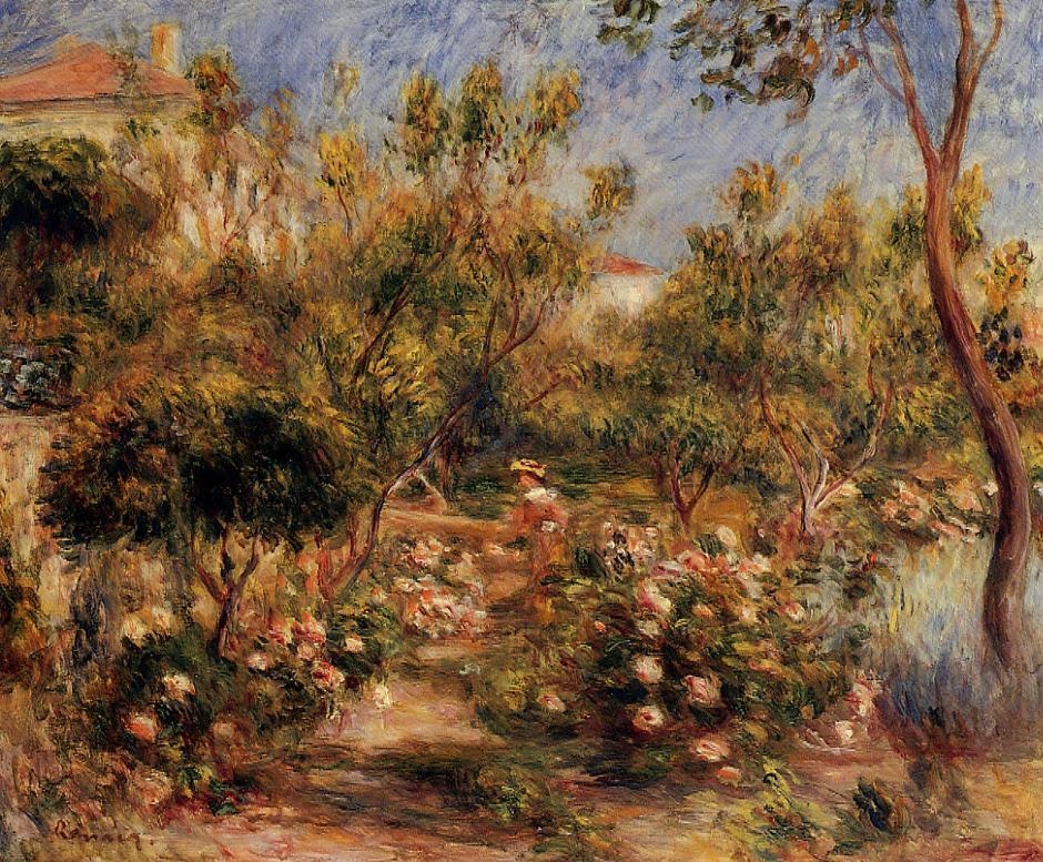 Young Woman in a Garden - Cagnes 1903-1905 | Pierre Auguste Renoir | Oil Painting