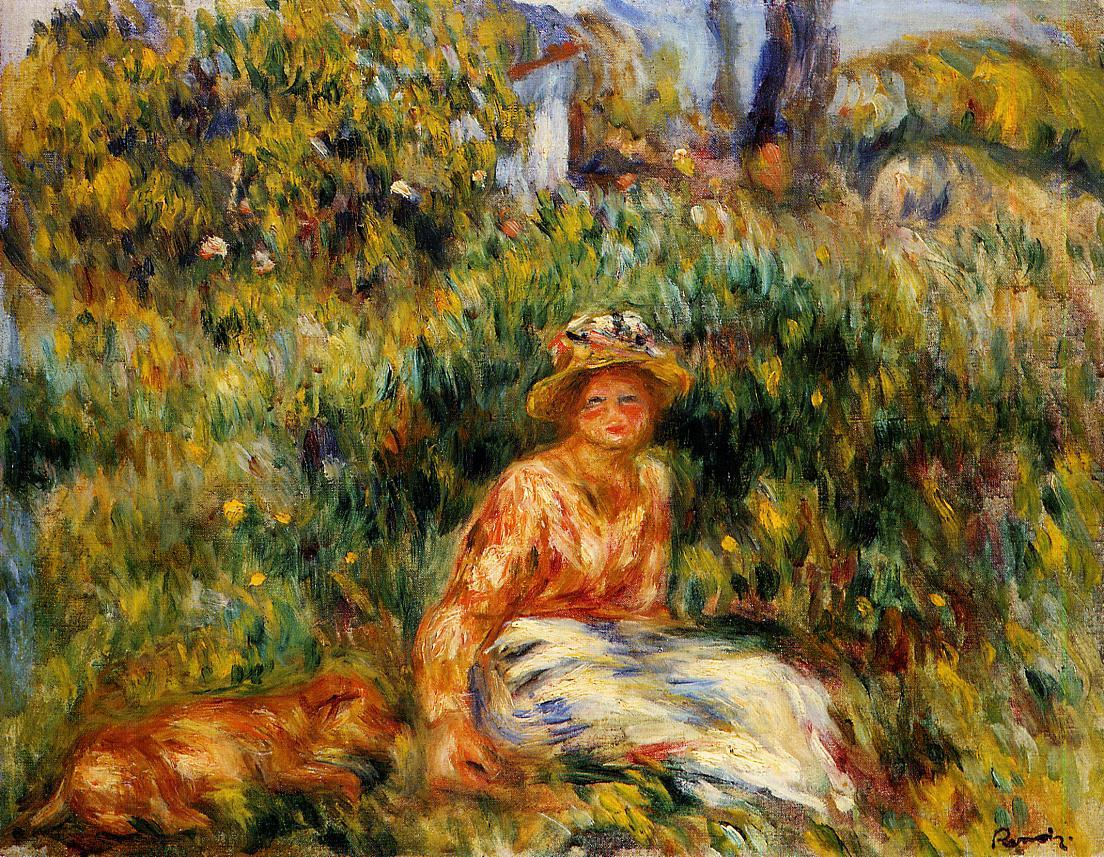 Young Woman in a Garden 1916 | Pierre Auguste Renoir | Oil Painting