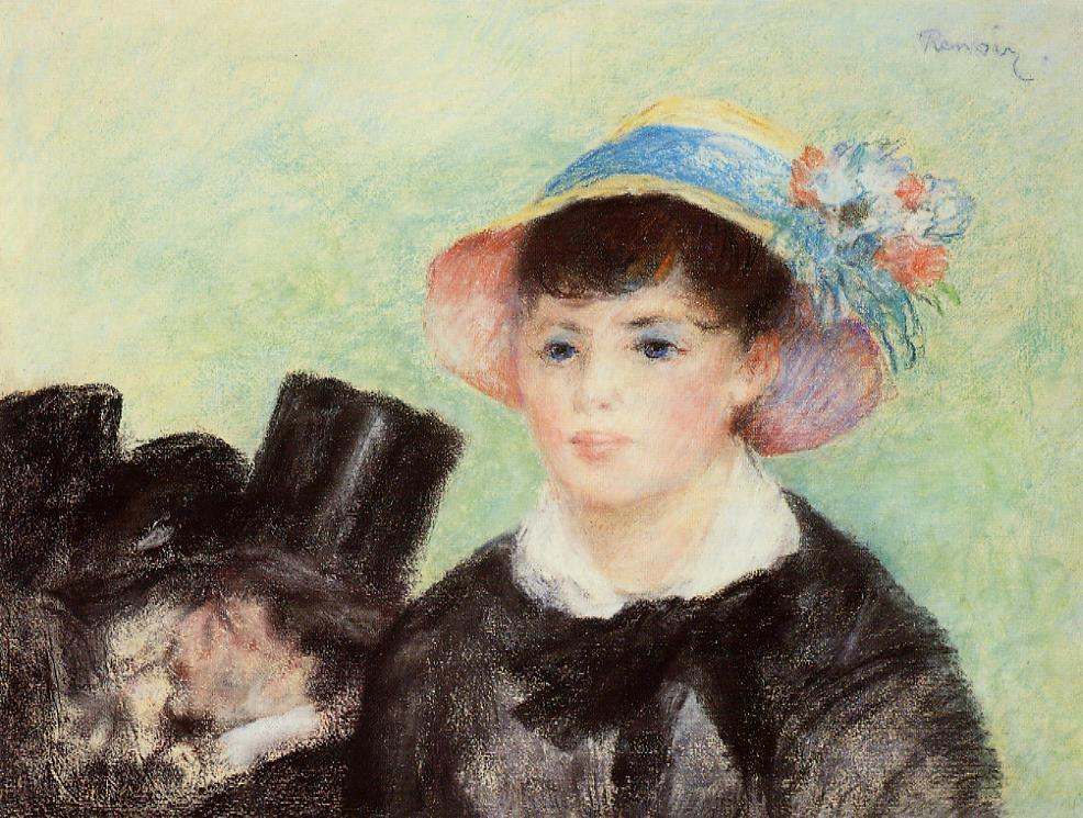 Young Woman in a Straw Hat 1877 | Pierre Auguste Renoir | Oil Painting