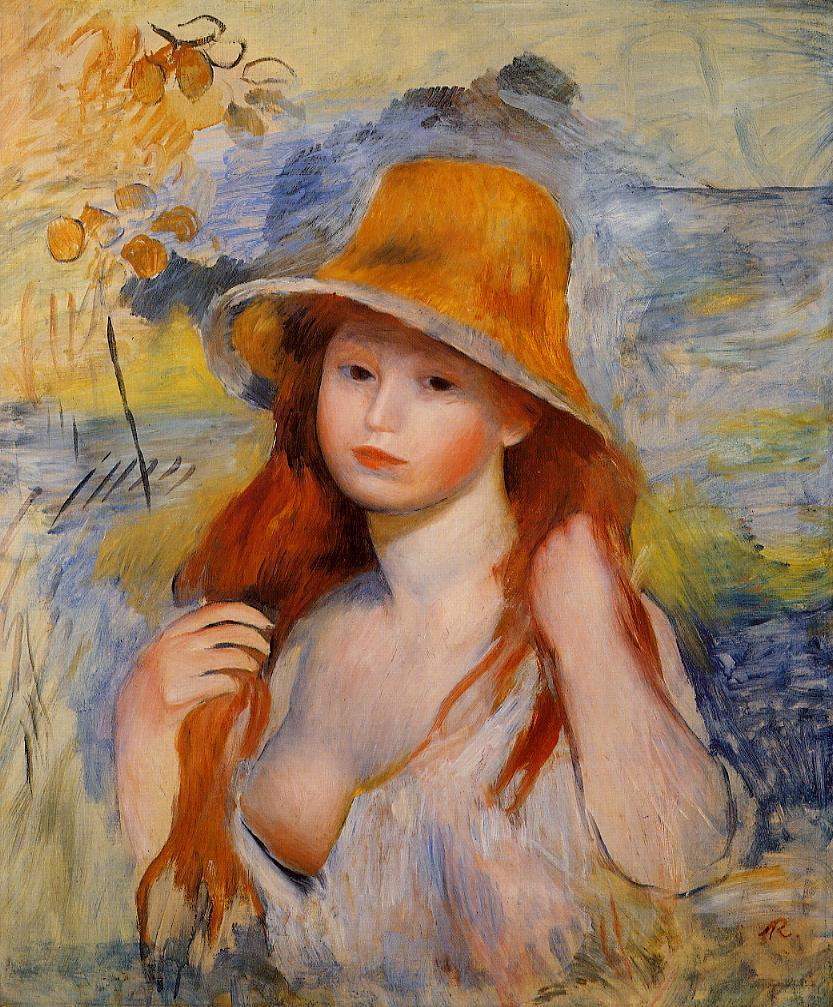 Young Woman in a Straw Hat 1884 | Pierre Auguste Renoir | Oil Painting