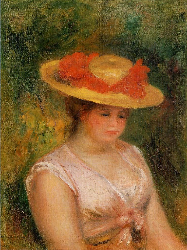 Young Woman in a Straw Hat 1901 | Pierre Auguste Renoir | Oil Painting