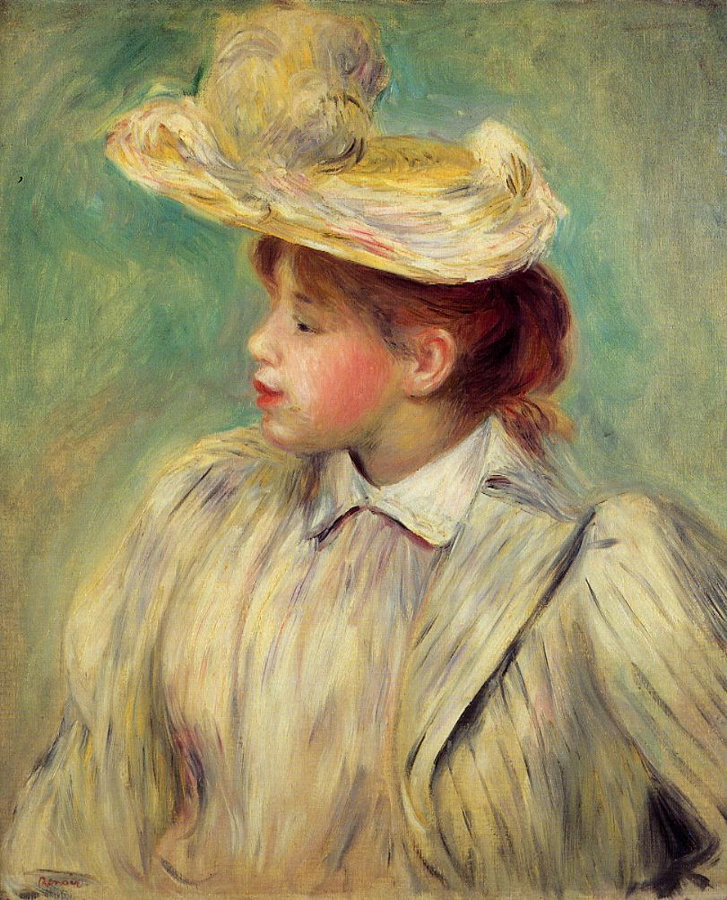 Young Woman in a Straw Hat | Pierre Auguste Renoir | Oil Painting